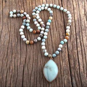 NEW Genuine Amazonite Pendant beaded necklace